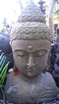 3ft Tall Stone Buddha Head Statue