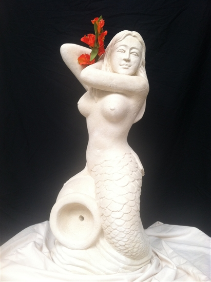 3ft Tall Striking Solid White Composite Stone Mermaid Statue Fountain