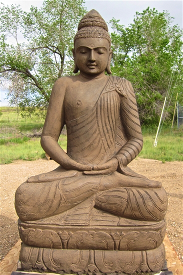 5ft Large Carved Stone Shakyamuni Buddha Statue
