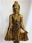 Ornate Gold Colored Teak Wood Mandalay Style Standing Buddha Statue