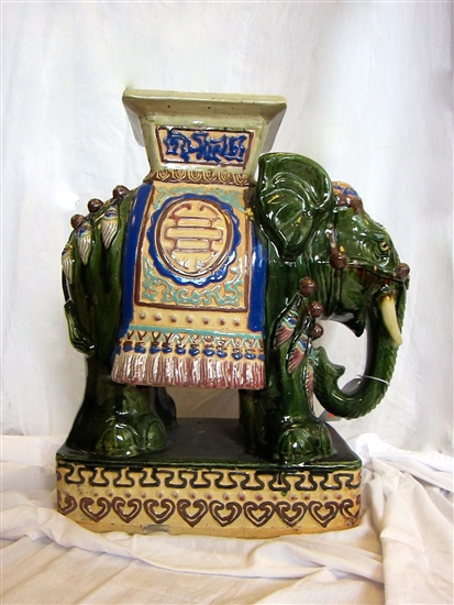 Ornate Porcelain Vietnamese Elephant Table