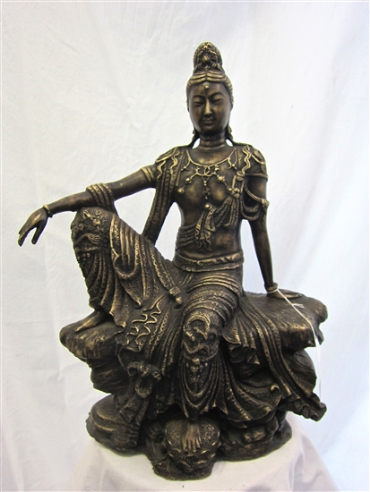 2ft Ornate Bronze GUANYIN KWAN YIN BUDDHA GODDESS of Compassion Statue
