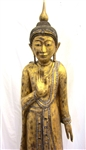 6ft Antique Burmese Mandalay Standing Buddha Statue - Gold Gilded Teak Wood ca1900