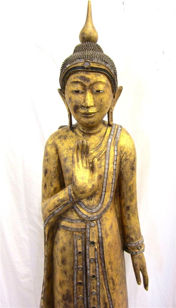 6ft antique burmese mandalay standing buddha statue gold gilded