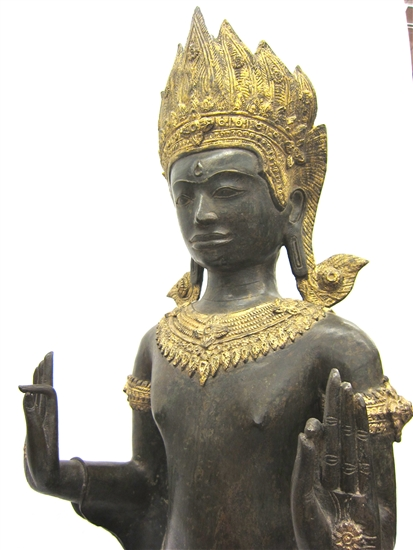 4ft Standing Camobodian Bronze Buddha Statue Pacifying the Ocean Gold Gilded Natural Verdigris