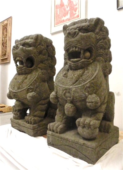 4ft Large Fu Foo Dog Lion Statues Solid Carved Stone Garden Temple Guardians