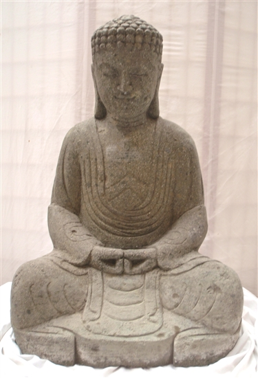 3 Foot Stone Sitting Buddha Statue Japanese Zen Asian Decor