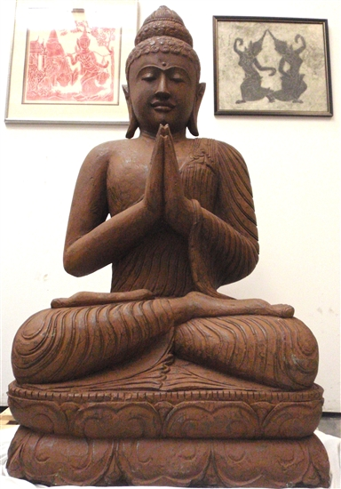 5ft Tall Giant Namaskar Brown Sitting Buddha Statue Carved Stone Masterpiece