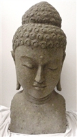 3ft Tall Buddha Head SOLID CARVED STONE Buddhist Art Home Garden Restaurant