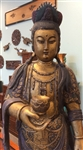 3ft Tall Standing Kuan Yin Goddess of Compassion Statue Antique Carved Wood Polychrome Mid-19th Cen. China