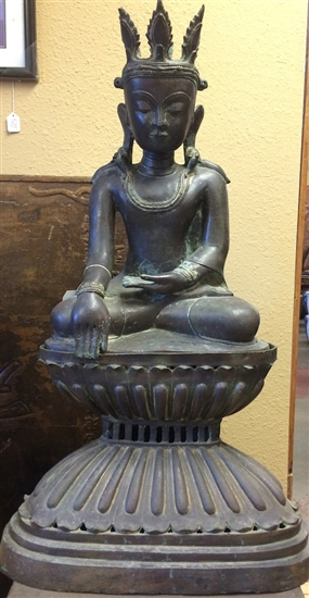3ft Bronze Sukhothai King Buddha Statue Rare Lost Wax Method Casting Repro of 18th Cen Style