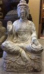 2ft Antique Granite Peace Buddha Statue with Abhaya Mudra of Fearlessness & Renunciation