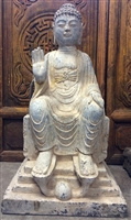 2ft Antique Granite Lord Buddha Statue Messenger of Peace with Abhaya Mudra & Ornate Throne