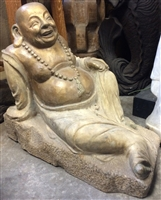 2ft Antique Reclining Ho Tai Happy Buddha Statue of Plenty Carved Granite Stone Polychrome Budai from Mid 20th Cen China
