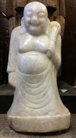 2ft Standing Hotei Ho Tai Laughing Buddha Statue Antique White Marble 19th Cen Mandalay Burma Budai