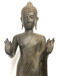 3ft Gilded Bronze Standing Sukhothai Buddha Statue Pacifying the Ocean Posture Style Lost Wax Method Casting