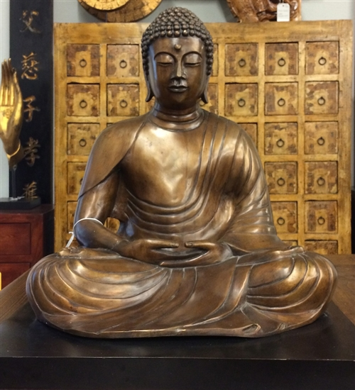 3ft Meditation Buddha Statue with Black Base Lost Wax Method Bronze Casting Exquisite Vintage 20th Cen Chinae