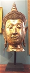 4ft Large Bronze Buddha Head Statue Lost Wax Method Vintage 20th Century Reproduction of 15th Century Thai Ayutthaya Style