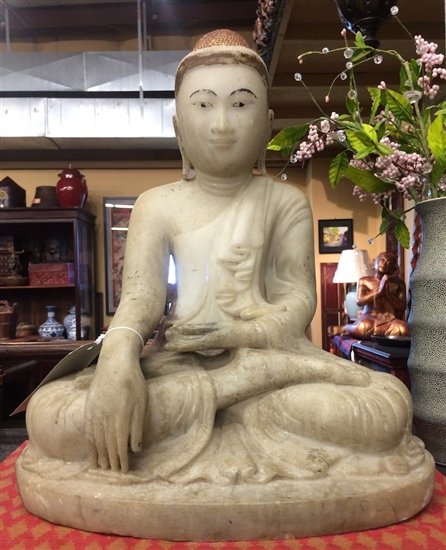 2ft Antique Carved Marble Earth Touching Buddha Statue Polychrome Natural Pigment Lacquer Madalay Burma Circa 1880s