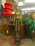 6ft Tall STANDING BUDDHA Statue Laos Teak Wood GOLD GILDED Black Lacquer