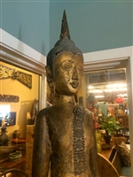 6ft Rare Big STANDING BUDDHA Statue Laos Rain mudra GOLD GILDED Teak Wood