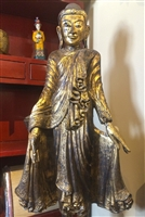 5ft Antique BURMESE MANDALAY STANDING BUDDHA Statue GOLD GILDED Teak Wood