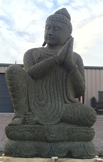 5ft Large Stone Namaskara Greeting Buddha Statue
