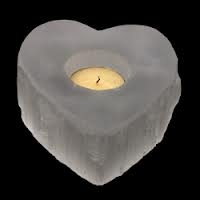 White Selenite Heart Tea Light Holder