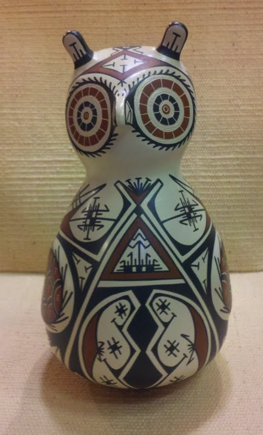 White Terracottablack Painted Owl Vase