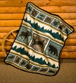 Rustic Animal Fleece Throw