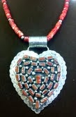 Sterling Coral Heart & Coral Necklace
