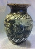 Navajo Horse Hair Pottery, Etched Bear