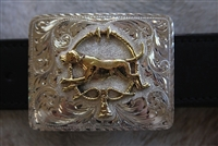 "Buckle/Belt - Silver - Polish Bronze Foxhound - ""Foxhound & Whips"""