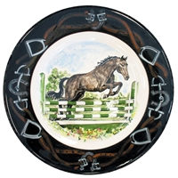 Jumper Horse Hand-Painted Plate