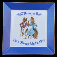 "Square Plate - 10-1/2"" - ""Having A Ball"" - Personalized - Blue"