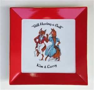 "Square Plate - 10-1/2"" - ""Having A Ball"" - Personalized - Red"