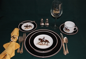 5-pc Place Setting - Dressage Horse - Glass,Silverware, Salt/Pepper Shakers, Napkin/Holder Not Included