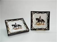 "Square Plate - Dressage Horse - 6-7/8"" - Black/Brown Rim - Set/4"