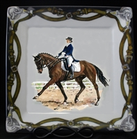 "Square Plate - Tack Border - 10-1/2"" - Dressage Horse"