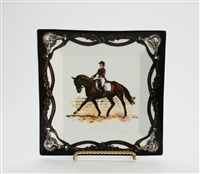 "Square Plate - Tack Border - 6-7/8"" - Dressage Horse"