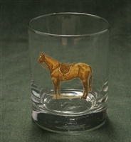 Double Old Fashion Glasses - Hunter Horse - Set of 4