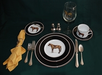 5-pc Place Setting - Hunter Horse - Glass, Silverware, Salt/Pepper Shakers, Napkin/Holder Not Included