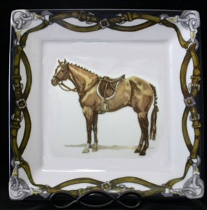 "Square Plate - Tack Border - 10-1/8"" - Hunter Horse"