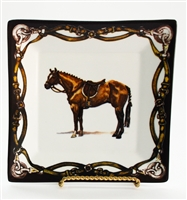 "Square Plate - Tack Border - 6-7/8"" - Hunter Horse"