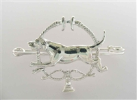 """Foxhound and Whips"" Sterling Silver Brooch / Stock Tie Pin"