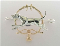 """Foxhound and Whips"" Silver and Gold Brooch / Stock Tie Pin"
