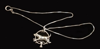 "Pendent & Chain - Sterling Silver - ""Foxhound & Whips"""