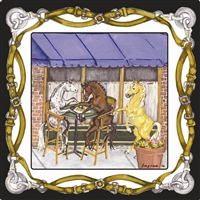 "Square Plate - ""A Blond Having More Fun"" - Tack Border / Black Rim"