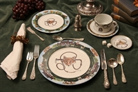 5-pc Place Setting - Foxhunting Theme - Coaster, Silverware, Salt Shakers, Napkin/Holder Not Included