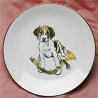 Gold Band Coupe Plate - Pup & Horn